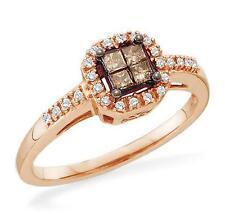 Nice! 10K Rose Gold Invisible-Set Princess Brown and White Diamond Ring .25ct