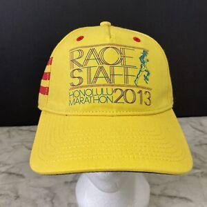 Adidas 2013 Honolulu Marathon Race Staff Hat Cap Japan Airlines Yellow NEW