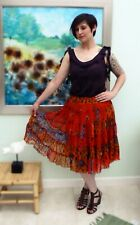 Nomads Clothing floaty paisly pattern orange autumnal colour skirt. New Size L