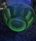 "6""  Pillar Etched Uranium Vintage Glass Berry Bowl(green)"