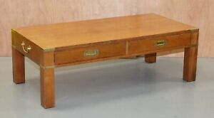 VINTAGE MILITARY CAMPAIGN COFFEE TABLE WITH BRASS HANDLES
