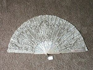 Antique Hand Fan Handmade Point de Gaz Needle Lace, Mother of Pearl
