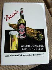"""L@@k!!! Becks Beer 5 3/4"""" x 8"""" Tin Metal Collectable Post Card sign"""