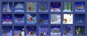 """Lewis & Irene Christmas Tomte & Friends 5"""" squares CE1 100% COTTON FABRIC PANEL"""