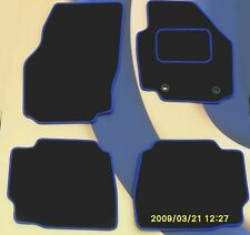 FORD FOCUS 04-11 & ST2 & ST3 CAR MATS BLACK CARPET WITH BLUE EDGE + RING CLIPS B
