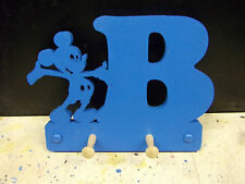 wooden coat pegs hooks hangers personalised childrens initial with micky
