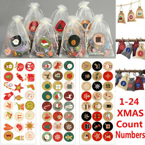 120PCS Christmas Advent Countdown Calendar Stickers Numbers Gift Bag Label Seals
