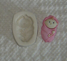 Baby in a Blanket W Diaper Pin Polymer Clay Push Mold Free ship after first one