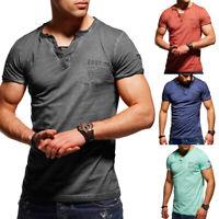 Rello & Reese Herren T-Shirt Vintage V-Neck Henley Poloshirt Clubwear Wash NEU