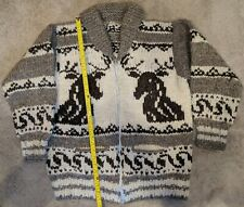 Genuine 1960s Cowichan Indian Hand Spun & Hand Knit Heavy Buffalo Wool Sweater