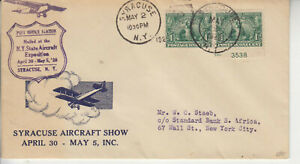 EVENT N.Y. STATE AIRCRAFT EXPOSITION SYRACUSE MAY 2 1928 ULTRA CACHET PAIR #328