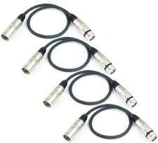 4x 0,5m Câble de microphone XLR XLR 3 pôles symetrique, Câble DMX noir Adam Hall