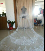 White ivory 2T Cathedral Wedding Veil lace edge With Comb 3M Long Bridal veils