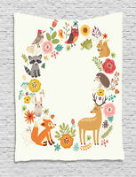 Forest Tapestry Cartoon Wildlife Pattern Print Wall Hanging Decor