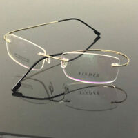 Memory Titanium Rimless Flexible Gold Eyeglass Frame Glasses Spectacles Rx able