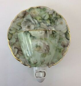 Teacup & Saucer Night Light White Roses Gold Trim Heavy Ceramic