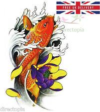 Large 3D Waterproof Irezumi Japanese Carp Fish & Lotus Flower Temporary Tattoo