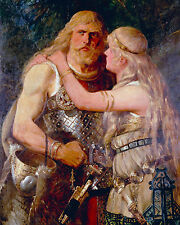 Arminius Germanic Tribe Warrior & Thusnelda 8x10 Real Canvas Fine Art Print