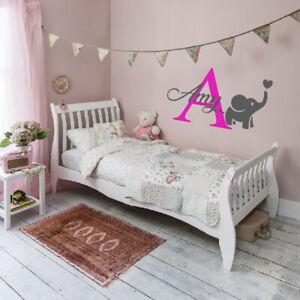 Custom Name Personalised Wall Sticker Baby Kids Nursery Bedroom Decal elephant