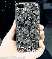 NEW DELUX COOL LUXURY BLING BLACK SKULL DIAMANTE CASE FOR VARIOUS MOBILE PHONES