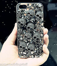 NEW DELUX COOL LUXURY BLING BLACK SKULL DIAMANTE CASE SAMSUNG GALAXY S7 EDGE UK