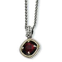 "Garnet Pendant 18"" Necklace .925 Sterling Silver 14K Gold Accent Shey Couture"