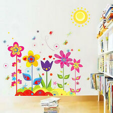 Colourful Flowers Sun Butterfly Bee Wall Stickers Art Decor Decal Kids Bedroom