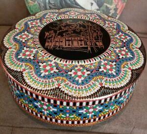 Vintage Mandela decorative tin w lid, round, relief, Daher, England