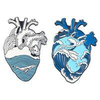 Cartoon Ocean Heart Brosche Herz Emaille Kragen Shirt Hut Pin Schmuck