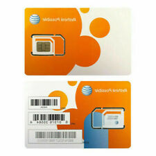 New At&T Prepaid & Postpaid 4G Lte Triple Sim Card 3 In 1 Att Micro Nano