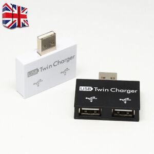 USB2.0 Male to Twin Charger Dual 2 Port USB Splitter Hub Adapter Converter UK