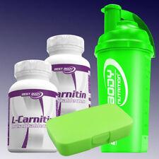 73,86€/kg) Best Body L-Carnitin Tabs  2 x 60 Tabs + Pillenbox und Shaker in Grün