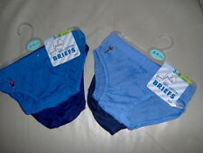 4 PRS LITTLE BOYS BRIEFS - FOOTBALL MOTIF - AGES 2/3 - 3/4 - 5/6 YEARS BLUE/NAVY