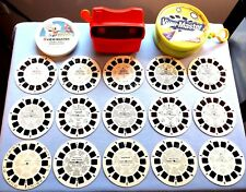 VIEWMASTER - LOT OF 15 DISNEY KID'S REELS WITH REEL HOLDER, CASE AND RED VIEWER