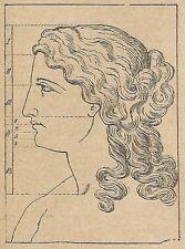 A4339 Misura del capo - Incisione - Stampa Antica del 1887