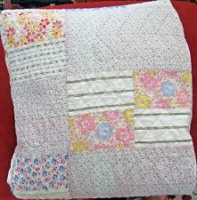 "VTG 1930's Handmade Feedsack Patchwork Quilt 70""X83"" Pink Blue Green 4 Patch"