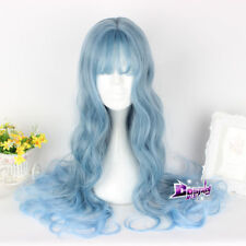 65cm Blue Long Curly Hair Cosplay Heat Resistant Women Lolita Party Wig