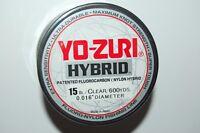 yo zuri fluorocarbon nylon hybrid 15lb lo-vis clear 600yds spool fishing line