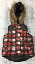 Coogi Puffer Vest Toddler Boy Red Plaid Faux Fur Hood Size 18M