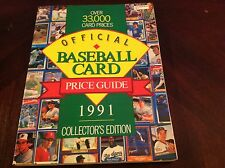 Vintage Official Baseball Card Price Guide 1991 Collector Edition Softcover Book