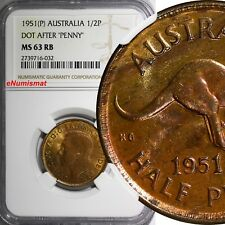 Australia George VI Bronze 1951(P) 1/2 Penny NGC MS63 RB With Dot KM# 42