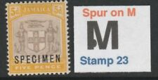 049 JAMAICA 1905 5d opt'd SPECIMEN with SPUR on M variety mint - only 7 exist