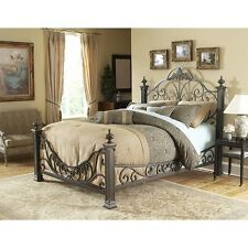 Fashion Bed Baroque Metal Poster Bed in Gilded Slate-King