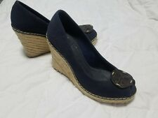 Tory Burch Womens Blue Canvas Peep-Toe Rope Platform Wedges Heels Shoes 8.5