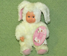 """10"""" ANNE GEDDES BABY BUNNIES BEAN FILLED COLLECTIBLE DOLL WHITE RABBIT WITH TAG"""