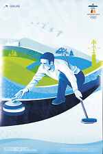 Original Vintage Poster Vancouver Winter Olympics 2010 Curling Snow Sport Canada