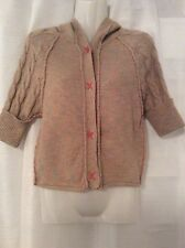AMERICAN RAG Women's Sweater Cardigan Brown Pink HOODED WOOL BLEND Size Small
