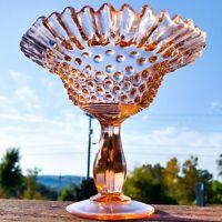 Vintage Fenton Art Glass Pink Hobnail Crimped Edge Compote USA Circa 1950s