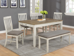 NEW Transitional Rustic White Oak 6PC Dining Table, 4 Chairs, Bench Farmhouse