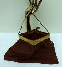 Antique Square Fold Hinged Bag Early 1900's Dutch Scene Windmill Purse Edwardian